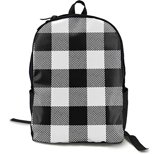 XCNGG NiYoung Travel Backpack Laptop Backpack Large Diaper Bag - Black White Plaid Backpack School Backpack for Women & Men