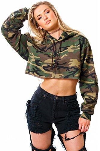 Langarm Militär Camo TarnungKapuze Kapuzenpullover Hoodie Kurze Crop Sweatshirt T-Shirt Boxy Oberteil Top Armee Grün S