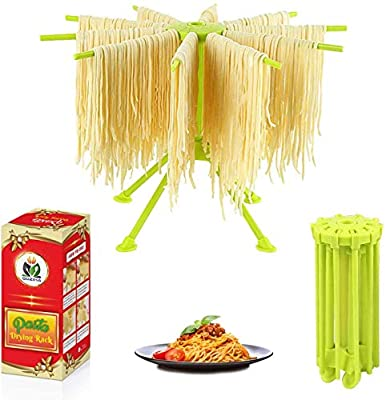 Pasta Drying Rack Noodle Stand with 10 Bar Handles Collapsible   Household Noodle Dryer Rack Hanging for Home Use