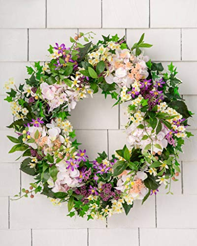 Balsam Hill Outdoor Enchanted Garden Artificial Large Wreath 30 Inches With Lifelike Colorful Blooms For Spring With Variegated Ivy, Mini Grape Leaves, Foam Berries, Faux Green Moss, and Pothos Leaves