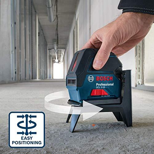 Bosch Professional Kreuzlinienlaser GCL 2-15 (roter Laser, Innenbereich, mit Lotpunkten, Arbeitsbereich: 15 m, 3x AA Batterien, Drehhalterung RM 1, Laserzieltafel, Schutztasche) - 5