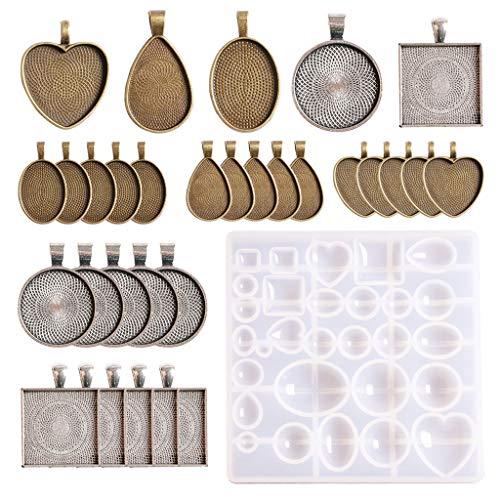 duquanxinquan 31 Piezas cabujón Set de Silicona Forma de Resina epoxi moldes Molde Resina Joyas para DIY Souvenir Dild medallón Collar