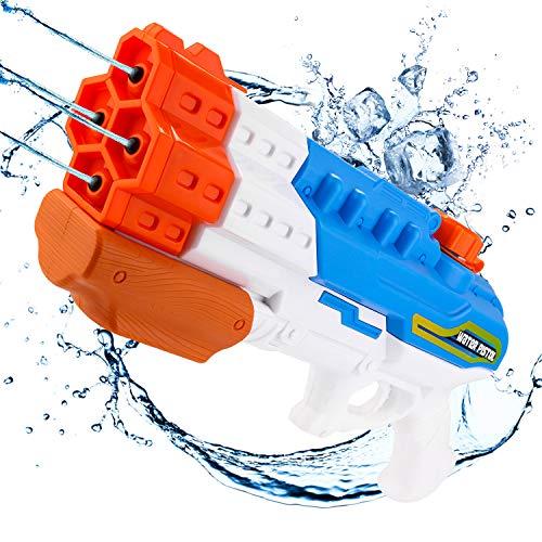 ARANEE Pistolas de Agua 4 boquillas, Super Pistola para niños Adultos con Alcance Largo, 1.2L Pistola de Agua Super Soaker, Juguete Infantil para Batalla de Agua, Playa, Piscina, Jardin