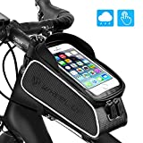 Bike Front Frame Bags, UBEGOOD Bicycle Phone Bags Waterproof, Top Tube Mount Handlebar Storage Bag, Bike Phone Holder with Touch Screen Large Capacity, Cycling Pack Fit Phones Below 6.0'