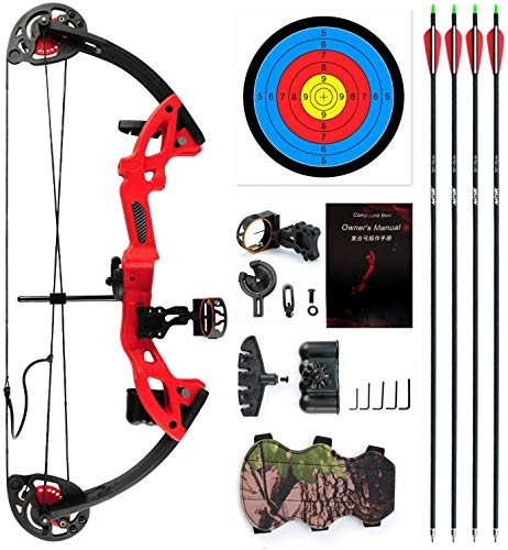 """E-ROCK Youth Compound Bow and Arrow Set with 4pcs Carbon Arrows Archery for Beginner Teenagers, Right/Left Handed, 19""""-28"""" Draw Length, 15-29lbs Draw Weight Archery Hunting Equipment (Red)"""