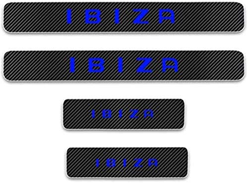 HAOHAO Anti-Kratz-Platte für Autoschwelle für Passend für 4 Stück Externe Carbon-Faser-Leder-Auto Kick-Platten Pedal for Seat Ibiza, Einstieg Willkommen Pedal-Tritt Scuff Threshold Bar Protectiv.