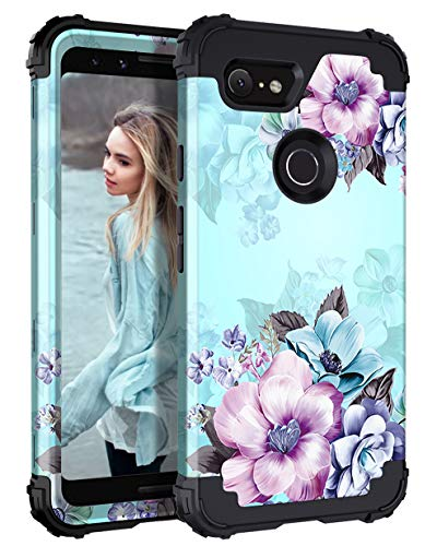 Casetego Compatible with Google Pixel 2 Case, Floral Three Layer Heavy Duty Hybrid Sturdy Shockproof Full Body Protective Cover Case for Google Pixel 2, Blue Flower