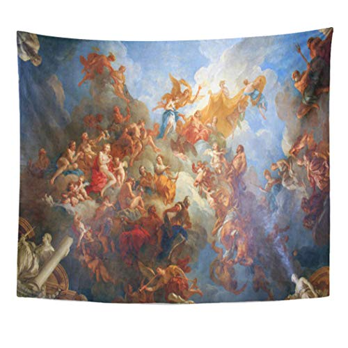 Semtomn Tapestry Artwork Wall Hanging Historical Hercules Allegory Ceiling Fine Versailles Mythology Heroes Greek 50x60 Inches Tapestries Mattress Tablecloth Curtain Home Decor Print