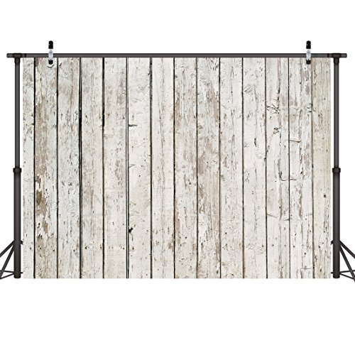 LYWYGG 7x5ft Photography Backdrop White Wood Backdrops for Photography Wood Floor Wall Background for Photographyers CP-22