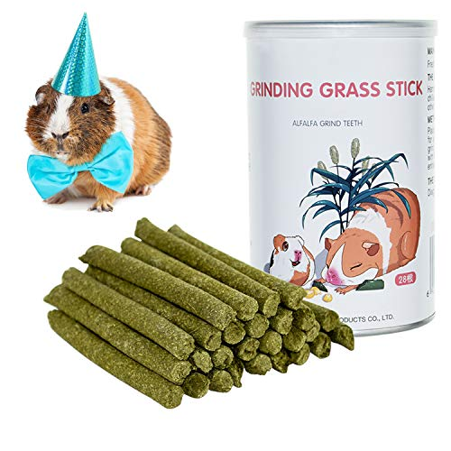 Natural Timothy Hay Sticks, Timothy Grass Chew Sticks Toys for Rabbit, Chinchilla, Guinea Pigs, Squirrel, Hamster(28Pcs) (Timothy)