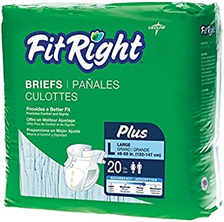 "FitRight Plus Adult Briefs with Tabs, Moderate Absorbency, XXL, 60""-69"", 4 packs of 20 (80 total)"