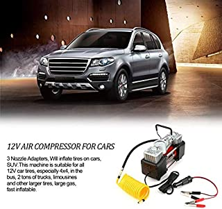 12V 150PSI Portable Emergency Heavy Duty 2 Cylinder Car Air Compressor Tire Inflator Pump Universal for Car Trucks Bicycle Black & red