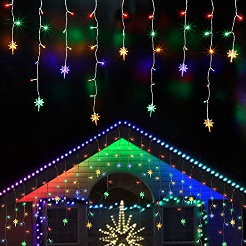 Twinkle Star Icicle Lights with Star, Outdoor Dripping Christmas Light with Bethlehem Star, 150LED 8 Modes White Wire Curtain Lights 30 Drops, Indoor Xmas Holiday Wedding Party Decor, Multicolor