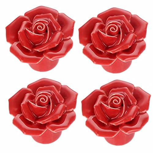 Frolahouse 4 pomos de cerámica para puerta con diseño de flores, con diseño de flores, para cajones, armarios, armarios y armarios de habitación de niños, 4 unidades