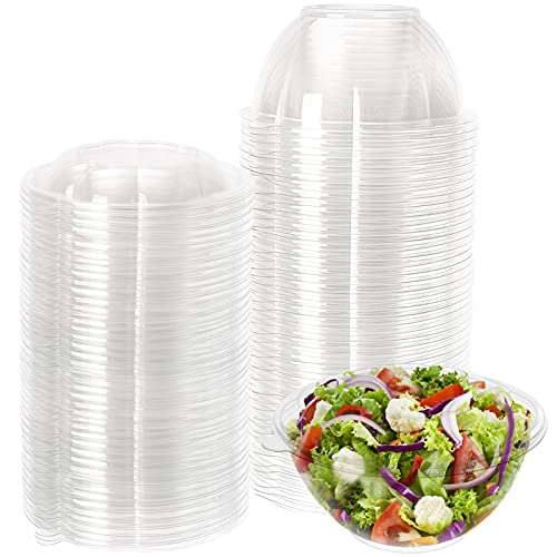 Cedilis 50 Pack 32oz Plastic Salad Bowls with Lid for Salad Meal Prep, Perfect for Picnics or as a To-Go Serving Bowl, Clear Disposable Containers