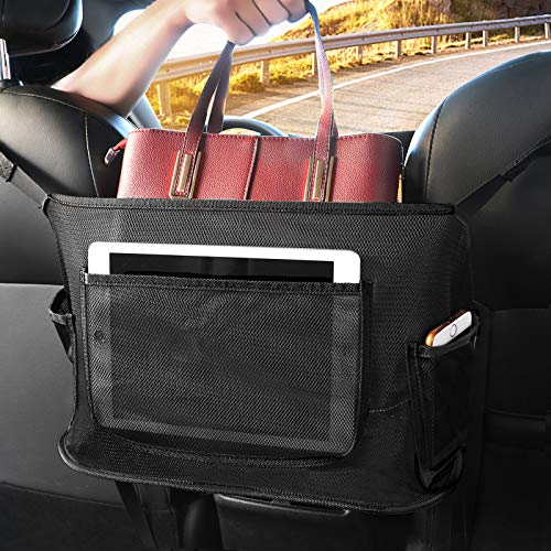 AIANDJI Car Net Pocket Handbag Holder between Seats, Net Purse Holder for Car, Auto Mesh Seat Netting Storage, Large Capacity Backseat Organizer for Purse, Phone, Fits Most Vehicles (Black)
