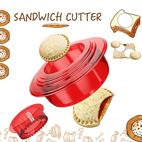 OHYGGE Sandwich Cutter and Sealer - Uncrustables Maker - Sandwich Cutter for Kids - Sandwich Sealer and Decruster for Boys and Girls - - Red