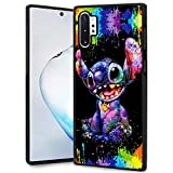 DISNEY COLLECTION Stitch Scrawl Design for Samsung Galaxy Note 10 Plus Case/Samsung Galaxy Note 10+ 5G Case Soft TPU and PC Tired Case Retro Stylish Classic Non-Slip Cover Black Shell