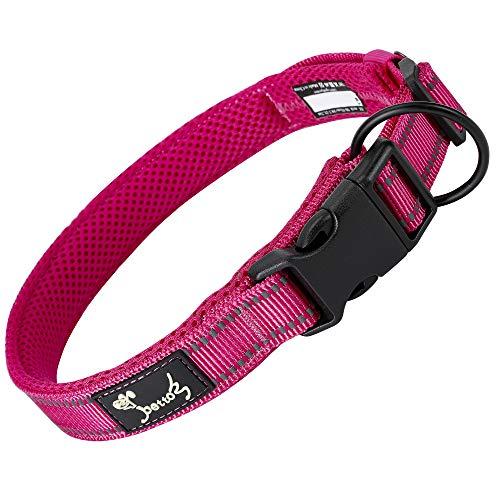 Petcomer Collare Cane Imbottito Nylon Regolabile Traspirante Riflettente Collari per Cani Gatti(Rosa XS)