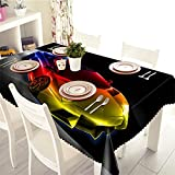 Tablecloth Rectangular Polyester Velvet Hemp Tablecloths for Outdoor Tables Kitchen Dining Patio Party Picnic Indoor Tabletop Tablecloth Wipe Clean Decoration Coche Deportivo 120x160cm/48x64Inch Z844