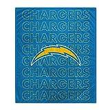 Pegasus Sports NFL Echo Team Wordmark Plush Blanket- Los Angeles Chargers
