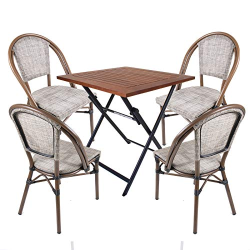 Marko Textoline Bistro Chairs Stackable Outdoor Garden Patio Dining Furniture Table Sets (5PC Louvre Mocha Set - Light Table)