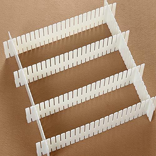 Separatori organizzatore divisori per cassetti con griglia regolabile, separatori per armadio in plastica fai-da-te (bianca, corto)