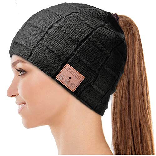 HIGHEVER Bluetooth Hat, Gifts for Women Ponytail Bluetooth Beanie Hat, Upgraded Bluetooth 5.0 Winter Music Hat Wireless Headphones with HD...