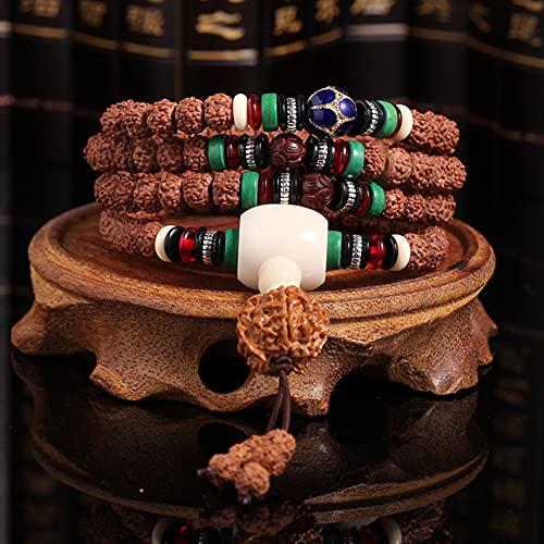 Pulsera, 108 Pulsera de Rosario Little Vajra Bodhi Five-Petal Bodhi Semilla Buda Buda Pulsera Novio y Novia