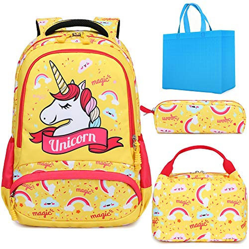 Girls Backpack Set for Elementary School Bookbag for Kids School Bag with Chest Strap Water Resistant Unicorn Backpack 3 in 1 Set with Lunch Tote Pencil Bag