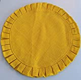 GEETUBERRY Set of 4 Rustic 100% Natural Jute/Burlap Table Placemats | Round Pleated | Fall, Thanksgiving, Diwali, BBQ, Summer, Farmhouse Kitchen Decor (Yellow)
