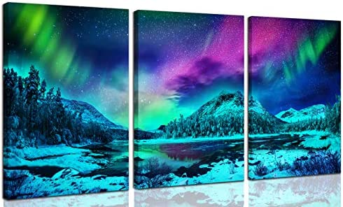 Northern Lights Canvas Wall Art Wall Decorations For Living Room Natural Landscape Theme Teal product image