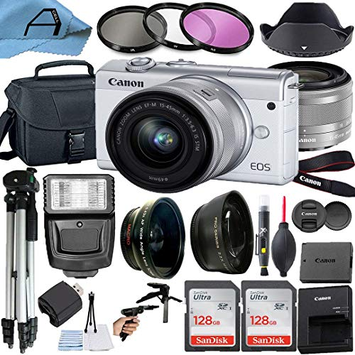 Canon EOS M200 Mirrorless Digital Vlogging Camera with EF-M 15-45mm is STM Zoom Lens, 2 Pack SanDisk 128GB Memory Card, Case, Tripod and A-Cell Accessory Bundle (White)