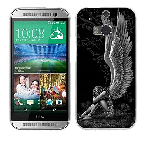 FUBAODA für HTC One M8 / M8S Hülle [Müder Engel] Kratzfeste Plating TPU Case für HTC One M8 / M8S Case Schutzhülle Silikon Crystal Case Durchsichtig für HTC One M8 / M8S