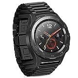 iBazal Cinturino Huawei Watch 2 Metallo Cinturini Acciaio Compatibile con Galaxy Watch 42mm/Active/Gear S2 Classic/Gear Sport/Ticwatch 2/E/Vivoactive 3/Vivomove HR(Orologio Non Incluso)- Classico Ne