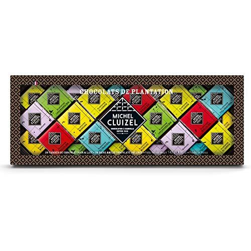 Michel Cluizel Geschenkbox Sortiment von Carré mit schwarzer Schokolade Cocoa Minimum 50% Produziert in Frankreich - 1 x 140 Gramm