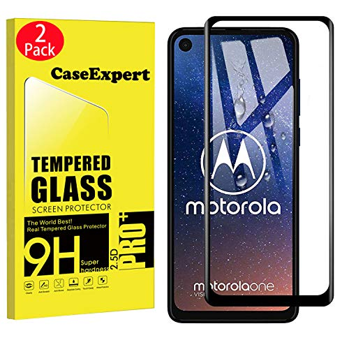 2 Pack - Motorola One Vision Tempered Glass, CaseExpert® Tempered Glass Crystal Clear Screen Protector Guard & Polishing Cloth for Motorola One Vision