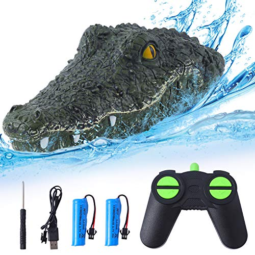 Herefun RC Barco Simulación Crocodile, 2.4G Impermeable RC Barco Teledirigido Remote Control...