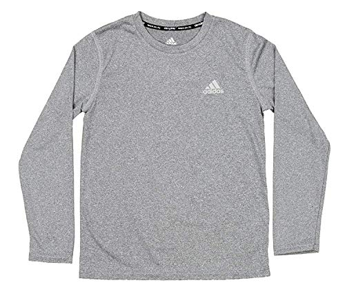 adidas Youth Boys Core Compression Long Sleeve Shirt, Dark Grey Heather Adidas Climalite Stretch Jersey