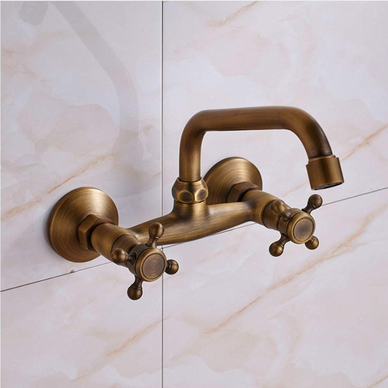 Waschtischarmatur Wandmontage Bad Wasserhahn Doppelgriff Messing Antik Warm Und Kaltwasserhahn 360 Swivel Lange Auslauf Küchenmischbatterie