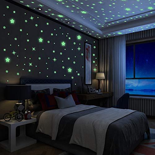 Yosemy Luminoso Pegatinas de Pared Estrellas Fluorescente Pegatinas de Estrellas Decoración de Dormitorio de Niños, DIY Decoración de la Habitación para Chico Niña Bebé Casa Interior Mural, 6