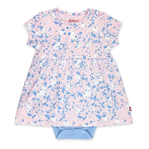 Zutano Baby Girl Organic Cotton Summer Dress, Pink Splatter Paint/Romper, 3M