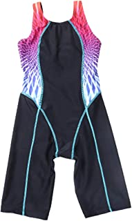 SherryDC Girls' Splice Athletic Competitive Full Knee Length One Piece Swimsuit Swimwear Legsuit (5-14 Years)