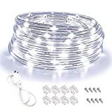 Areful LED Rope Lights, 16ft Daylight White Strip Lights with Clear PVC Jacket, Connectable and Flexible, Waterproof for Indoor Outdoor use, 110V Plugin Tape Lighting with High Brightness 3528 LEDs