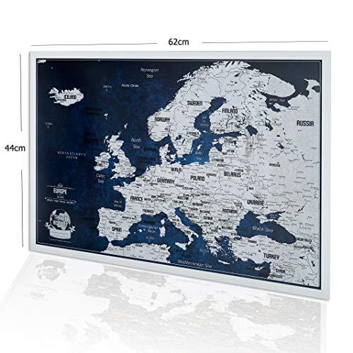 Mappa dell'Europa con spille - Bonus 100 Spille, Mappa dell'avventura con Cornice, Mappe Personalizzate con Colori Originali, Made in EU, La Dimensione 44 x 62 cm, Cornice in Legno Naturale