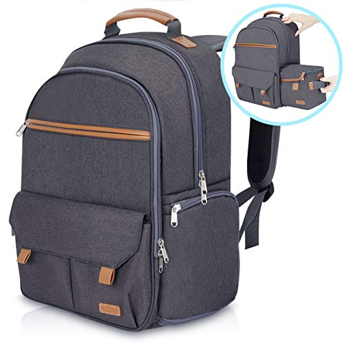 Endurax Waterproof Camera Backpack for Women and Men Fits 15.6' Laptop with Build-in DSLR Shoulder Photographer Bag Gray (Dark Gray)