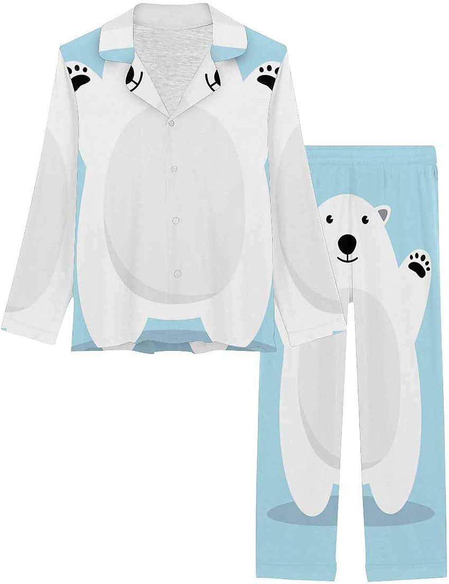 InterestPrint Notch Collar Soft Sleepwear Pj Set for Women Polar Bear Cartoon Character