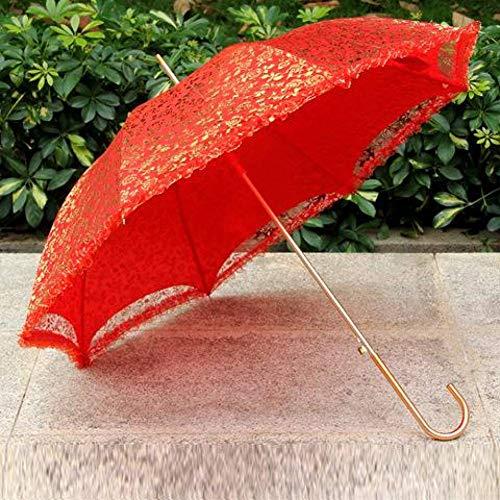 XCWQ vrouwen paraplu de bruid paraplu 23-inch hoge kwaliteit gouden folie rode paraplu bruidsmeisjes parasol bruiloft decoratie