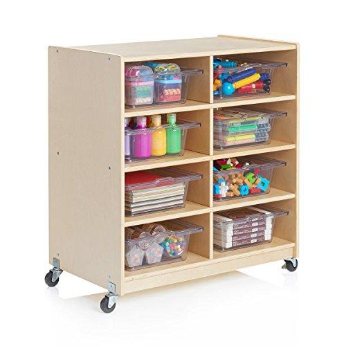 Guidecraft Wooden 8-Bin STEM Storage Unit - Rolling Science, Art Storage Cubby and Organizer, Kids Classroom Furniture, School Supply