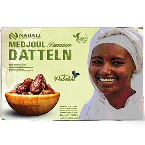 NABALI FAIRKOST FÜR ALLE Medjool Medjoul Datteln aus Palästina - 100% naturell vegan aromatisch traditionell frisch & orientalisch I ohne Konservierungsstoffe (500 g)